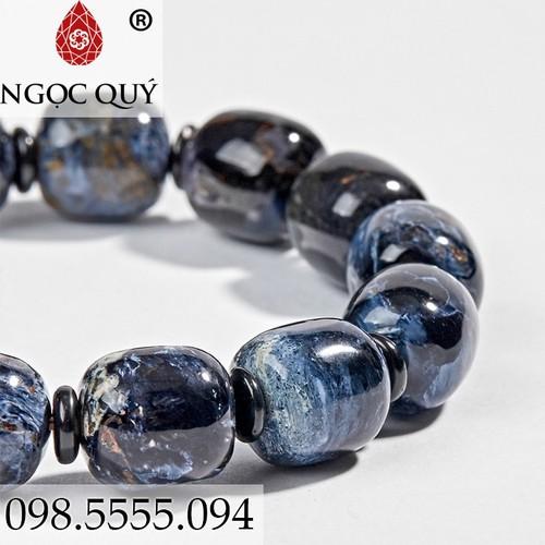 Vòng Tay Nữ Đá Giông Bão Xanh Đen 10mm - Ngọc Quý Gemstones