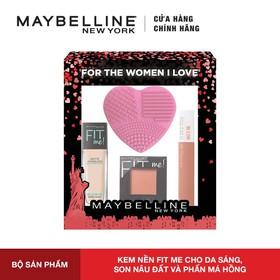 Bộ sản phẩm trang điểm nền Maybelline New York Fit Me & Son kem lì Super Stay Matte Ink [Tặng Miếng Rửa Cọ] - 8935274602488