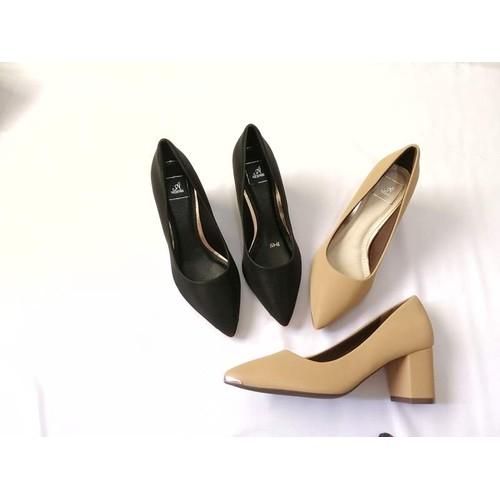 Giày gót vuông 5 phân da mềm