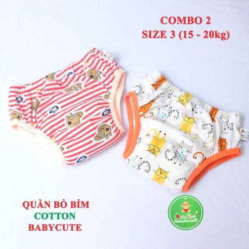 Combo 2 quần bỏ bỉm cotton BabyCute size 3 từ 15-20kg mẫu ngẫu nhiên cho bé Gái