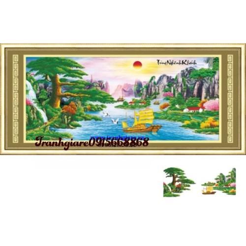 tranh đính đá phong cảnh tùng nghênh khách 150-68cm