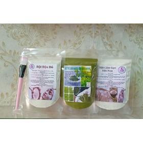 combo 3 gói mặt nạ trị mụn dưỡng trắng da: trà xanh-đậu đỏ- cám gạo - 085
