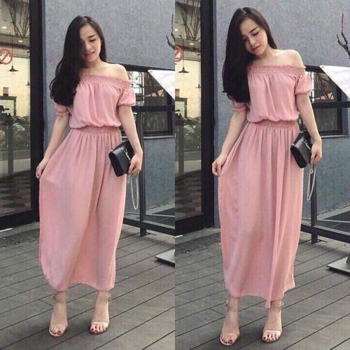 Đầm maxi nhún trễ vai Thanh Thảo