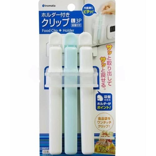 Set 3 kẹp miệng túi cỡ L kèm giá đựng - Hàng nội địa Nhật