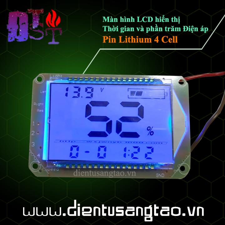 Màn hình LCD hiển thị Thời gian và phần trăm Điện áp Pin Lithium 4 Cell
