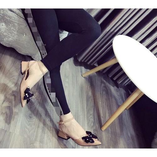 Giày sandal nữ đế bệt phối nơ chấm bi