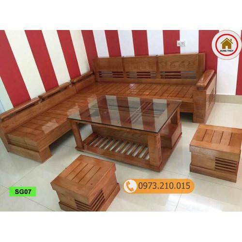 Bộ ghế sofa góc tay chồng trứng gỗ sồi Nga SG07