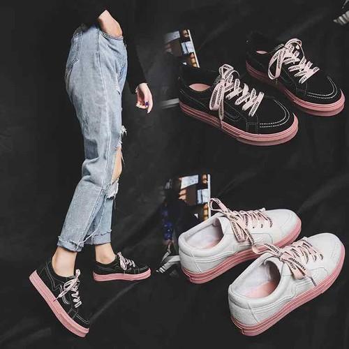 Giày bata nữ cột dây hồng cute