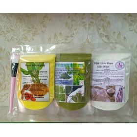 combo 3 gói bột mặt nạ:nghệ-trà xanh-cám gạo dưỡng trắng da mờ nám - 086