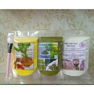 combo 3 gói bột mặt nạ nghệ-trà xanh-cám gạo dưỡng trắng da mờ nám - 086 thumbnail