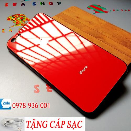 [SEASHOP] Ốp iPhone 6 - 6S mặt lưng kính TẶNG CÁP SẠC