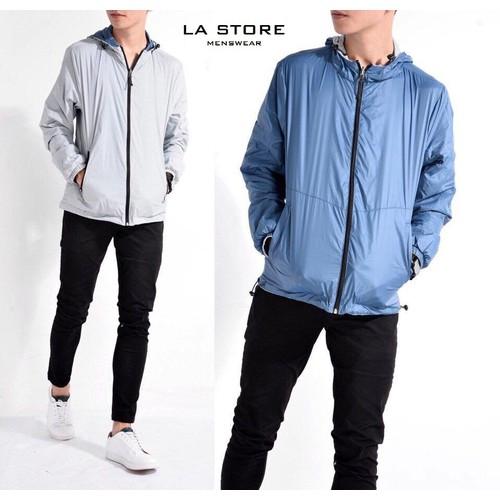 Áo khoác Routine chống nước mặc được 2 lớp với 2 màu Xanh- Xám Size lớn trên 75kg