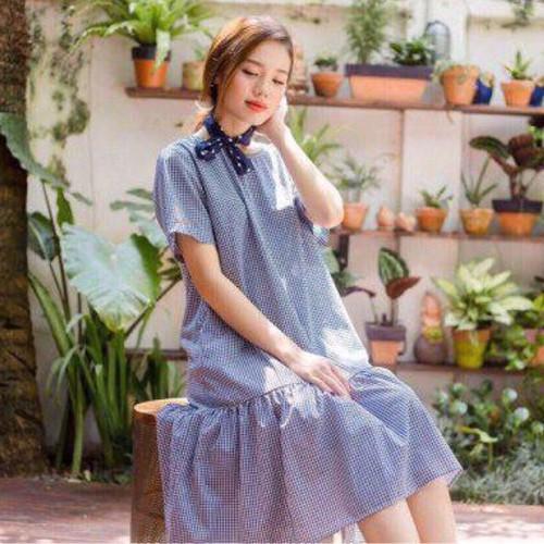 Đầm suông xanh caro kèm băng đô xds345