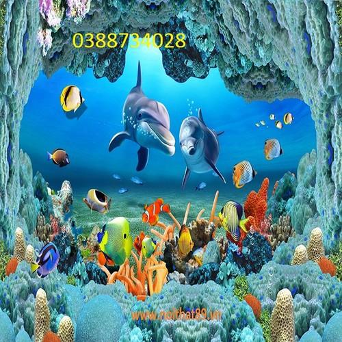 tranh ốp tường 3d cá heo đại dương