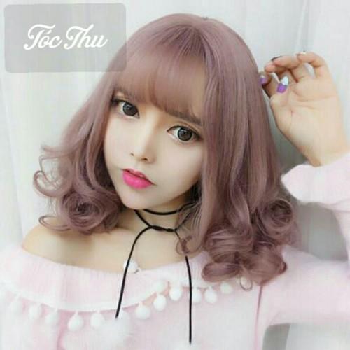 Tóc giả màu hồng khói