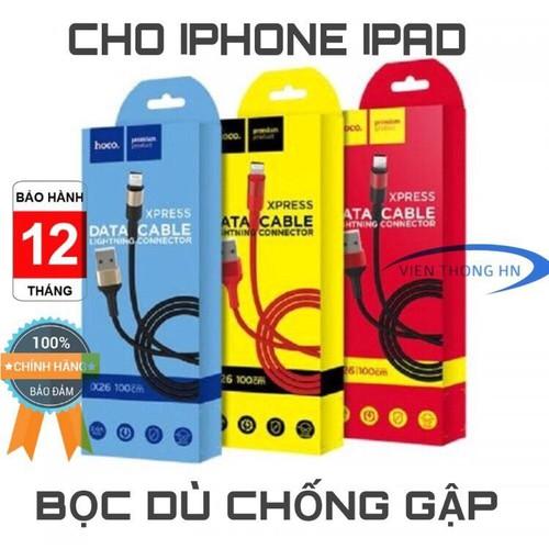 CÁP SẠC DÂY SẠC NHANH DÙ HOCO X26 Mét Lightning cho iP iPa