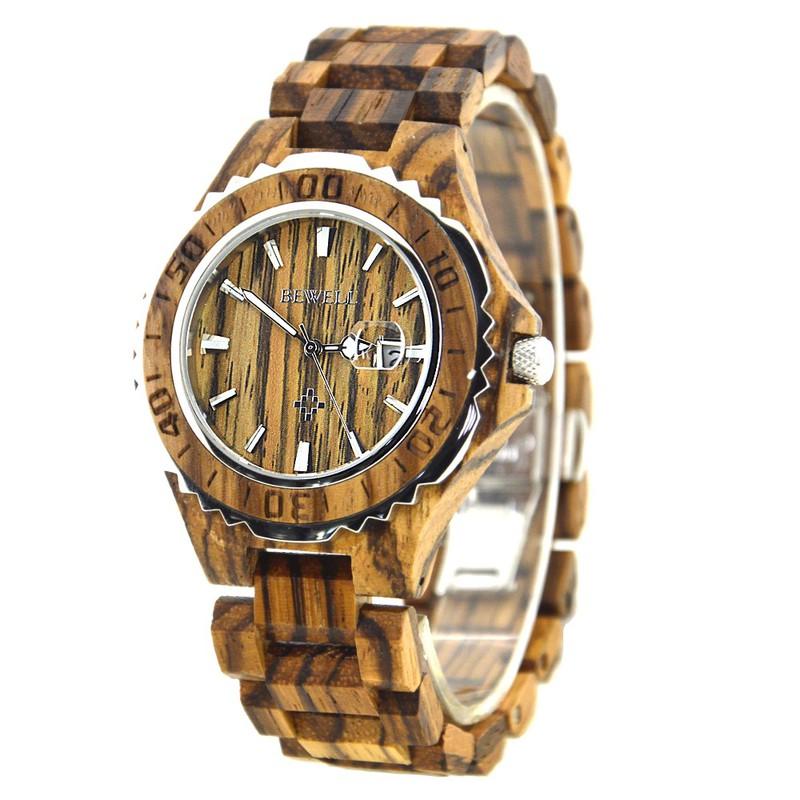 Đồng hồ nam đeo tay bằng gỗ, Đồng hồ gỗ hương vân có lặn mã 100BG bewell 2