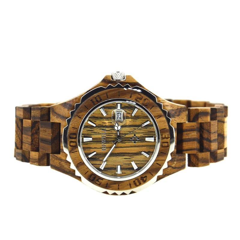 Đồng hồ nam đeo tay bằng gỗ, Đồng hồ gỗ hương vân có lặn mã 100BG bewell 4