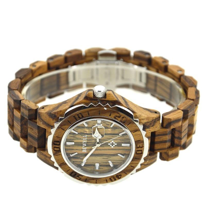 Đồng hồ nam đeo tay bằng gỗ, Đồng hồ gỗ hương vân có lặn mã 100BG bewell 3
