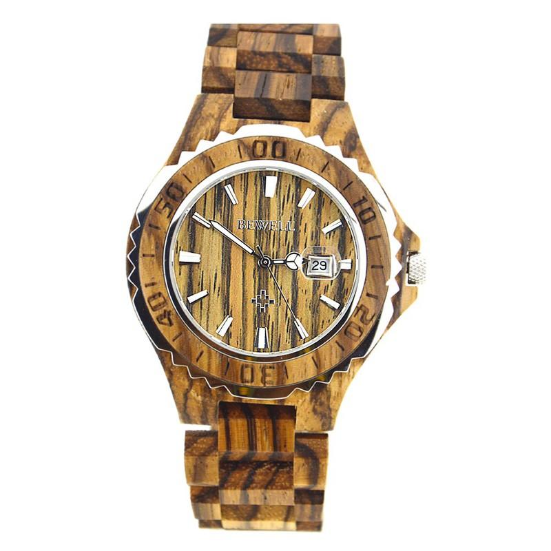 Đồng hồ nam đeo tay bằng gỗ, Đồng hồ gỗ hương vân có lặn mã 100BG bewell 1