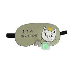 Miếng bịt mắt ngủ 3D có túi gel làm mát mắt hoạ tiết những chú mèo đêm kèm 2 cặp nút tai giảm tiếng ồn - Xanh lá non MBM31