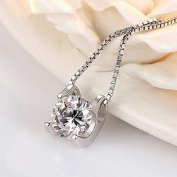 Dây chuyền bạc nữ Lily Love nạm đá thời trang, vòng cổ nữ bạc 925, dây chuyền mặt đính đá, dây chuyền nữ thời trang DC28