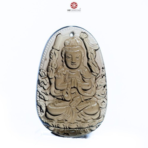Mặt dây chuyền Thiên Thủ Thiên Nhãn thạch anh khói tự nhiên - Phật bản mệnh cho tuổi Tý VietGemstones