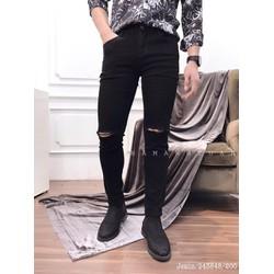 Quần Jeans nam rách gối quần jeans nam vải Thái bền đẹp co giãn ôm chân dày dặn [HỖ TRỢ 10K PHÍ VẬN CHUYỂN] [ĐƯỢC XEM HÀNG]