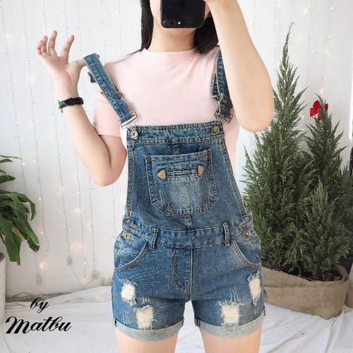 Quần yếm jean nữ tối giản