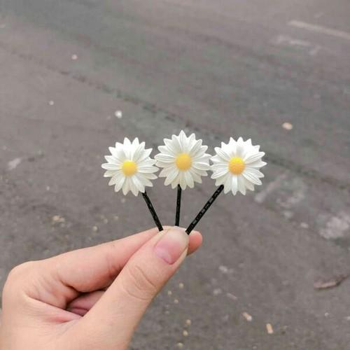 sét 3 kẹp tóc hoa cúc xinh