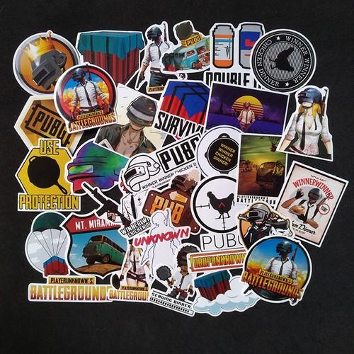 Bộ Sticker dán cao cấp chủ đề PUBG - Dùng dán Xe, dán mũ bảo hiểm, dán Laptop...