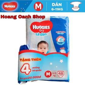 [HỖ TRỢ PHÍ VC] TẶNG 4 MIẾNG - Tã dán Huggies M48 - Tả - Bĩm - Ta Dan - HGDM48