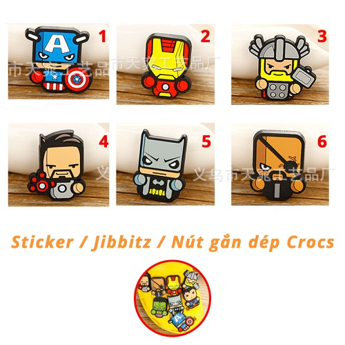 Sticker, Jibbitz Nút Gắn Dép Siêu anh hùng, Marvel cho Crocs, Cross, Satihu, Dép Sục