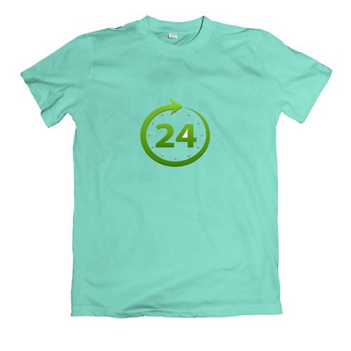 Áo thun in hình đồng hồ màu xanh có chữ 24h