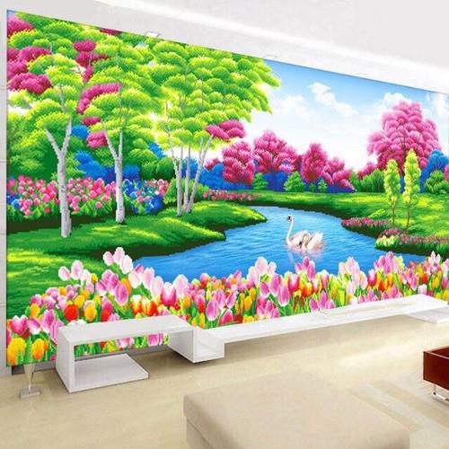 tranh đính đá phong cảnh tuyệt đẹp hồ thiên nga 145-75cm
