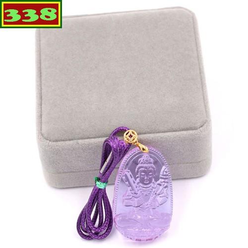 Vòng cổ Hư Không Tạng pha lê tím 5 cm DCSIFIN6 kèm hộp nhung - Mặt Phật Size lớn - Tuổi Sửu, Dần