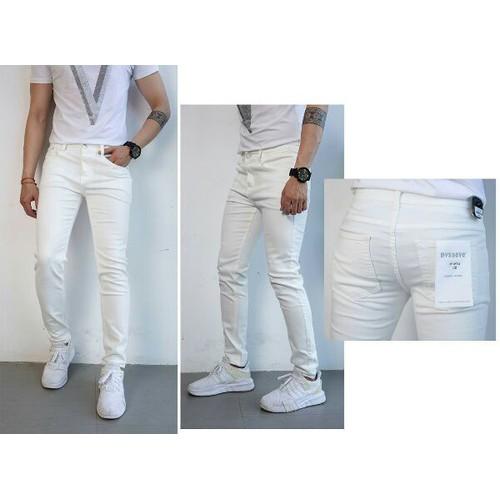Quần jean nam trắng rách nhẹ