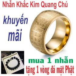 nhẫn nam nữ đeo tay cao cấp phong thủy trừ tà may mắn tài lộc khắc kim quang chú tặng vòng đá mặt Phật Tây Tạng