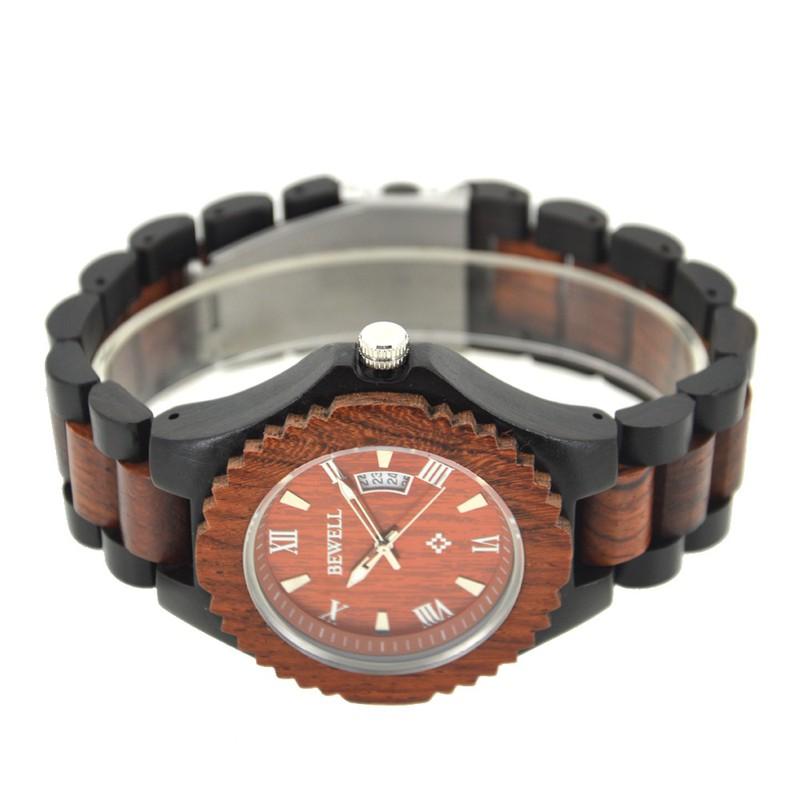 Đồng hồ nam bằng gỗ mun bewell 3