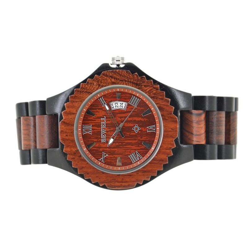 Đồng hồ nam bằng gỗ mun bewell 4