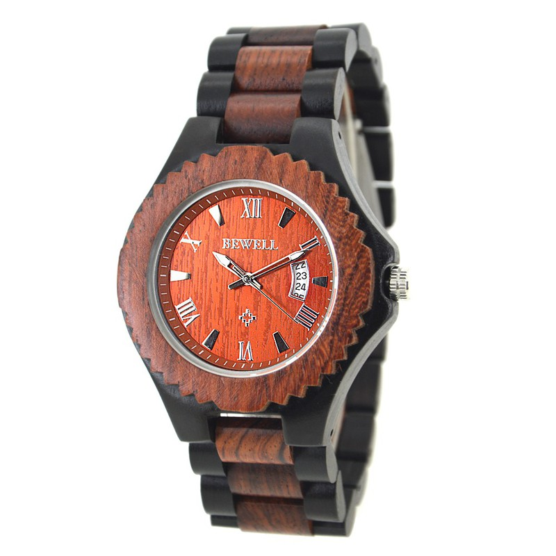 Đồng hồ nam bằng gỗ mun bewell 2