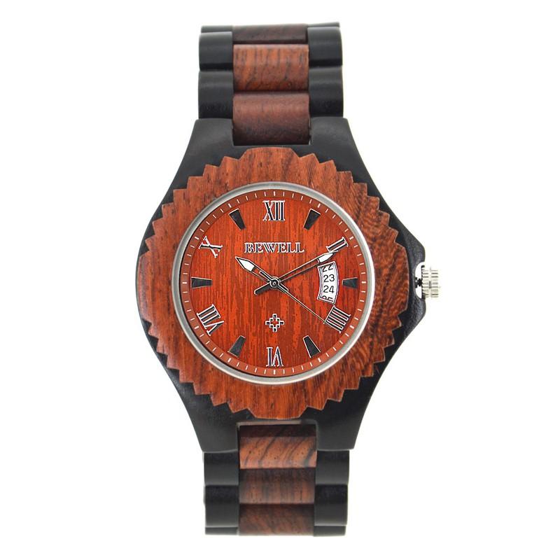 Đồng hồ nam bằng gỗ mun bewell 1
