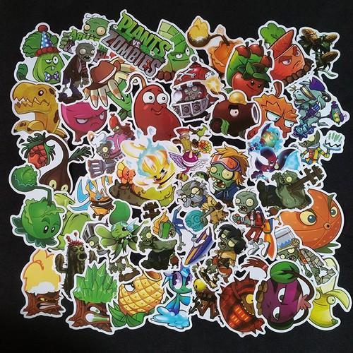 Bộ Sticker dán cao cấp chủ đề PLANTS - ZOMBIES - Dùng dán Xe, dán mũ bảo hiểm, dán Laptop...