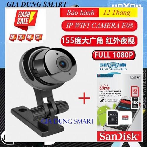 [BẢO HÀNH 12 THÁNG] Camera WIFI - camera IP E08  FULL HD 1080P  Tặng thẻ nhớ 32GB - CÓ VIDEO HƯỚNG DẪN