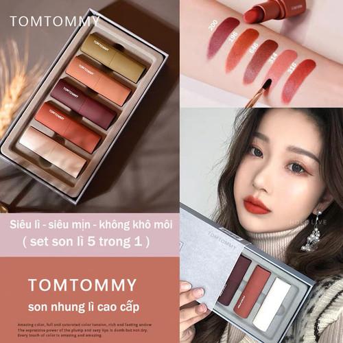 Set Son Sáp Nhung 5 In 1 TomTommy Light Matte Lip Glaze. Set 5 Màu Son Hot Trend Siêu Lì, Siêu Mịn, Không Khô Môi