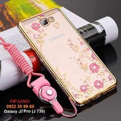 Ốp lưng đính đá Galaxy J7 Pro Ốp lưng đính đá 3 hàng hình hoa - ĐĐ021