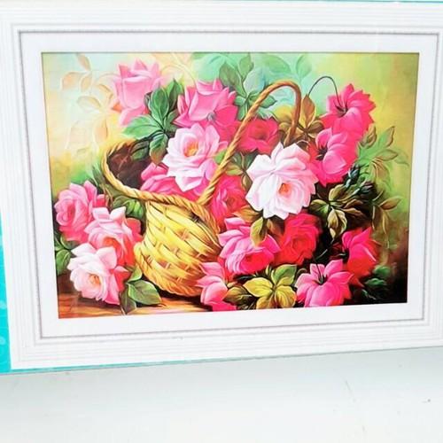 tranh đính đá bình hoa tuyệt đẹp 75-55cm