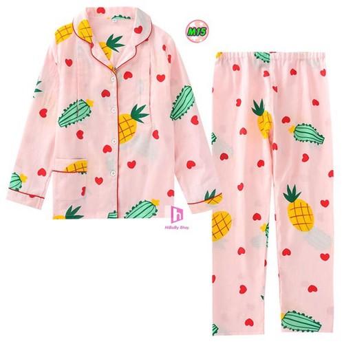 Bộ đồ Pijama Sau Sinh Thô Đũi Mặc hè cực mát M15