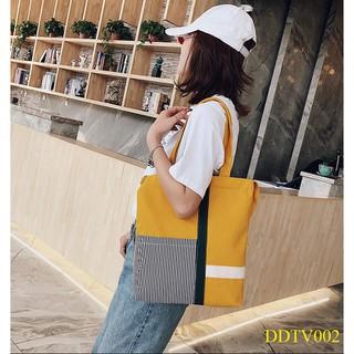 Túi vải canvas kẻ xọc đeo chéo kèm xách tay - TV002 thumbnail