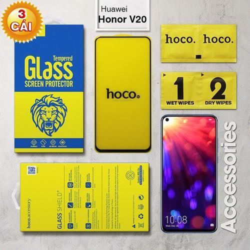 Combo 3 cường lực Huawei Honor V20 Full Hoco đen